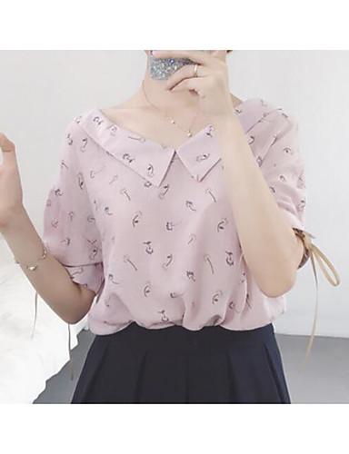 Damen Druck Einfach Lässig/Alltäglich Bluse,Hemdkragen Kurzarm Polyester