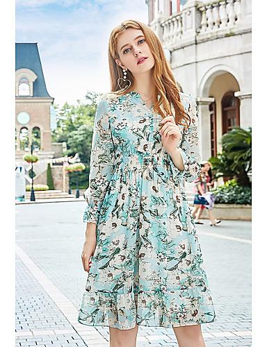 Damen A-Linie Kleid-Ausgehen Niedlich Druck V-Ausschnitt Knielang Langarm Polyester Herbst Mittlere Hüfthöhe Mikro-elastisch Mittel