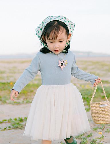 Mädchen Kleid einfarbig Baumwolle Herbst Lange Ärmel