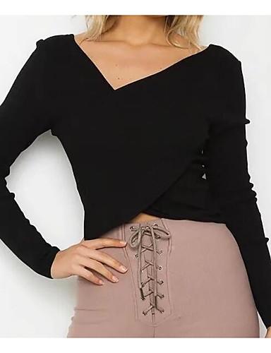 Damen Kurz Pullover-Lässig/Alltäglich Ausgehen Street Schick Solide V-Ausschnitt Langarm Baumwolle Elasthan Herbst Mittel Mikro-elastisch