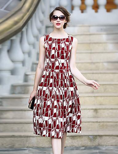 Damen Hülle Kleid-Lässig/Alltäglich Solide Geometrisch Rundhalsausschnitt Knielang Ärmellos Polyester Herbst Mittlere Hüfthöhe