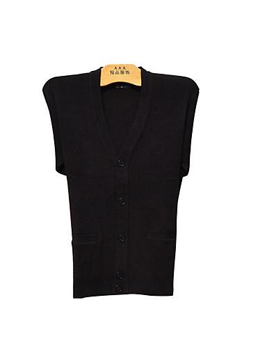 Herren Standard Strickjacke-Lässig/Alltäglich Einfach Solide V-Ausschnitt Langarm Baumwolle Frühling Herbst Dünn Mikro-elastisch