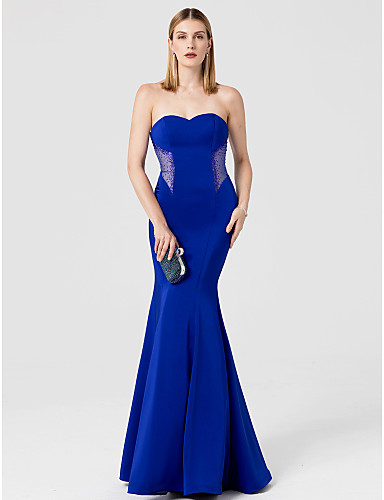 Mermaid / Trumpet Sweetheart Neckline Floor Length Spandex Cocktail Party / Prom / Formal Evening Dress with Crystals by TS Couture®
