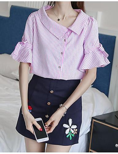 Damen Gestreift Muster Einfach Lässig/Alltäglich T-Shirt-Ärmel Rock Anzüge,Quadratischer Ausschnitt Sommer Kurzarm