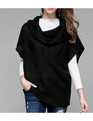 Damen Standard Pullover-Lässig/Alltäglich Einfach Solide Rollkragen Kurzarm Acryl Herbst Mittel Mikro-elastisch
