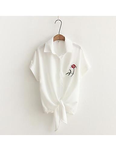 Damen Solide Blumen - Freizeit Hemd, Hemdkragen