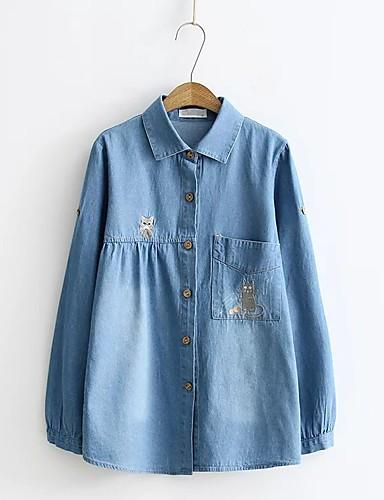Damen Solide Sexy Einfach Street Schick Ausgehen Lässig/Alltäglich T-shirt,Hemdkragen Sommer Langarm Baumwolle Acryl Polyester Dünn Mittel