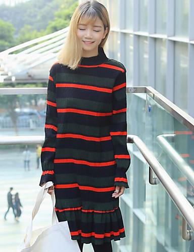 Damen T Shirt Kleid-Strand Einfarbig Rundhalsausschnitt Midi Langarm Andere Frühling Herbst Mittlere Hüfthöhe Mikro-elastisch Mittel
