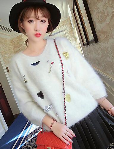 Damen Einfach Langarm Pullover - Druck Rundhalsausschnitt