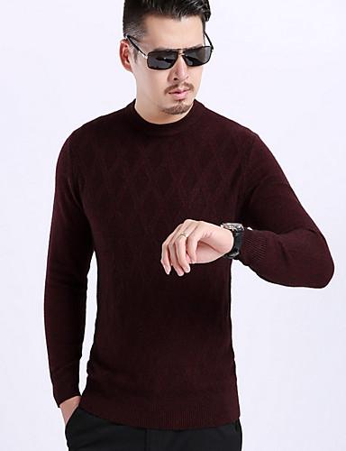 Herren Standard Pullover-Lässig/Alltäglich Solide Rundhalsausschnitt Langarm Polyester Frühling Dünn Mikro-elastisch