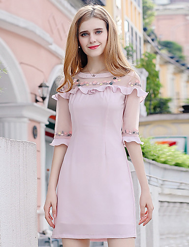 Damen Bodycon Hülle Kleid - Rüsche Gitter, Patchwork Stickerei