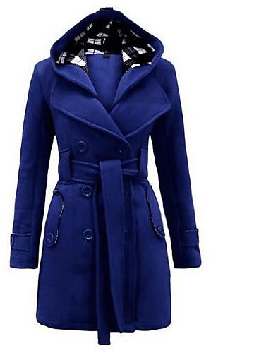 Damen Solide Einfach Freizeit Ausgehen Mantel,Quadratischer Ausschnitt Winter Langärmelige Lang Polyester