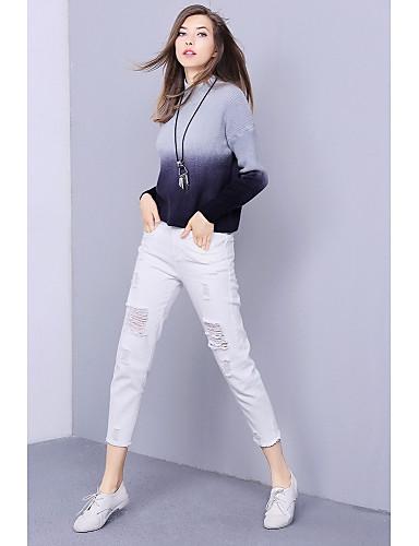Damen Standard Pullover-Ausgehen Einfach Einfarbig Rundhalsausschnitt Langarm Baumwolle Winter Mittel Mikro-elastisch
