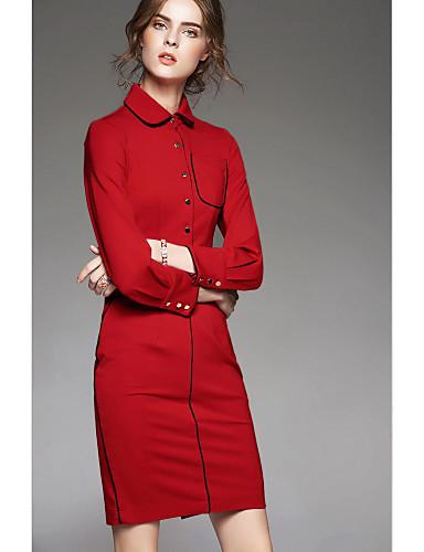 Damen Hülle Kleid-Ausgehen Niedlich Solide Hemdkragen Übers Knie Langarm Polyester Herbst Mittlere Hüfthöhe Mikro-elastisch Mittel