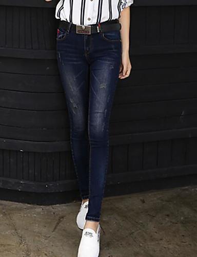 Damen Einfach Eng Schlank Jeans Hose Solide