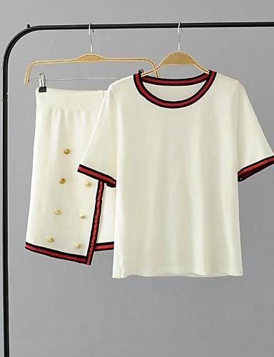 Damen Solide Gestreift Einfach Aktiv Sexy Lässig/Alltäglich T-Shirt-Ärmel Rock Anzüge,Rundhalsausschnitt Sommer Herbst Kurzarm
