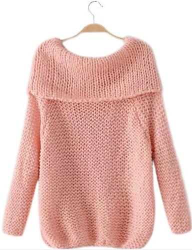Damen Standard Pullover-Ausgehen Lässig/Alltäglich Einfach Solide Bateau Langarm Mohair Herbst Dick Mikro-elastisch