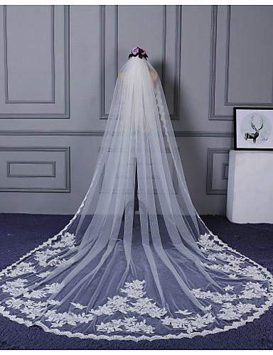 Einschichtig Spitzen-Saum Hochzeitsschleier Kathedralen Schleier Mit Verstreute Perlen mit Blumen Applikationen Spitze Tüll