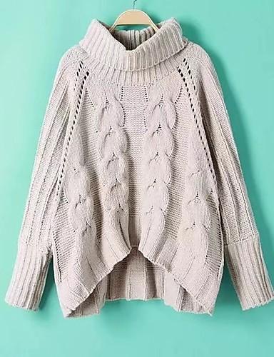 Damen Standard Pullover-Ausgehen Lässig/Alltäglich Einfach Solide Rollkragen Langarm Andere Frühling Herbst Mittel Dick Mikro-elastisch