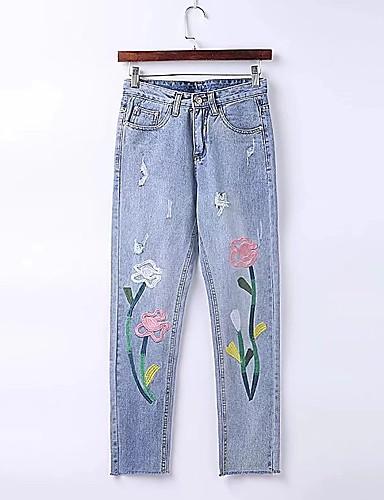 Damen Street Schick Mittlere Hüfthöhe Mikro-elastisch Schlank Jeans Hose,Baumwolle Andere Frühling Sommer Blumen