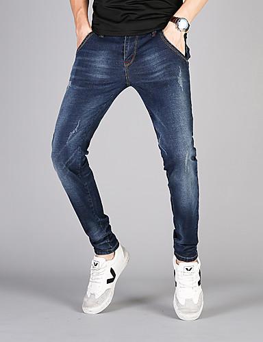 Herren Freizeit Mittlere Hüfthöhe Mikro-elastisch Schlank Jeans Hose Frühling Herbst Einfarbig
