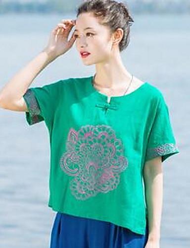 Damen Solide Druck Stickerei Chinoiserie Lässig/Alltäglich T-shirt,Rundhalsausschnitt Kurzarm Baumwolle Leinen