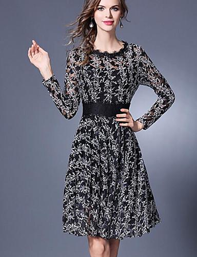 Damen Hülle Kleid-Ausgehen Druck Rundhalsausschnitt Übers Knie Langarm Polyester Sommer Mittlere Hüfthöhe Mikro-elastisch Mittel