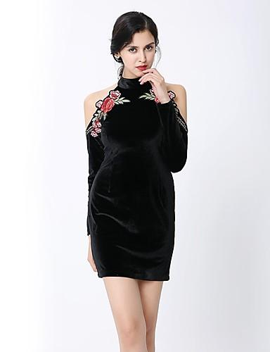 Damen Bodycon Kleid-Party Klub Ausgehen Retro Sexy Street Schick Stickerei Rollkragen Mini Langarm Polyester Herbst Winter Hohe Hüfthöhe