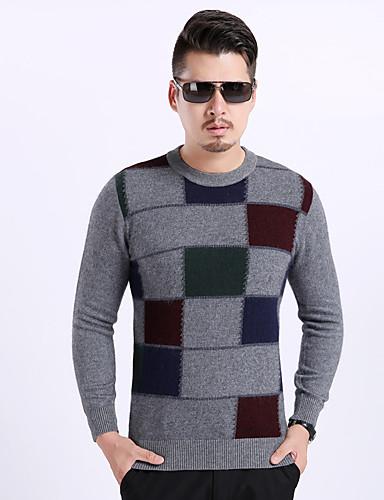 Herren Standard Pullover-Lässig/Alltäglich Einfarbig Rundhalsausschnitt Langarm Nylon Winter Mittel Mikro-elastisch