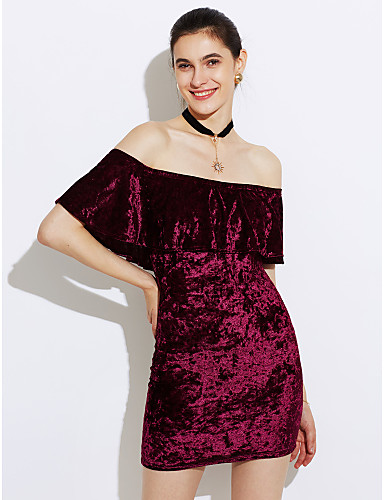 0810f87fc54a ... Velvet Going out Club Street chic Mini Skinny Bodycon Dress - Solid  Colored Layered Ruffle Boat Neck Summer Navy Blue Pink Wine L XL XXL / Off  Shoulder
