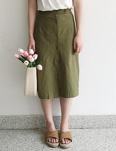 Damen Lässig/Alltäglich Midi Röcke A-Linie einfarbig Sommer