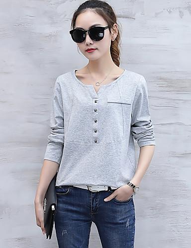 Damen Solide - Einfach Baumwolle T-shirt, V-Ausschnitt Niete