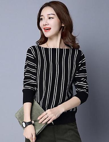 Damen Standard Pullover-Lässig/Alltäglich Solide Gestreift Bateau Langarm Wolle Andere Herbst Winter Mittel Mikro-elastisch