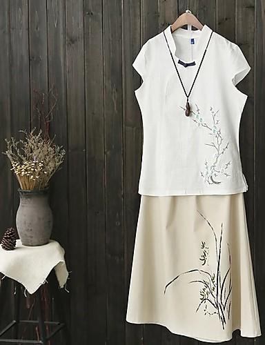 Damen Stickerei Einfach Niedlich Street Schick Ausgehen Lässig/Alltäglich T-shirt,V-Ausschnitt Frühling Herbst Kurzarm Baumwolle Leinen
