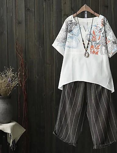 Damen Druck Niedlich Sexy Street Schick Ausgehen Lässig/Alltäglich T-shirt,Rundhalsausschnitt Sommer Herbst Langarm Baumwolle Dünn