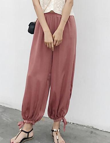 Damen Freizeit Mittlere Hüfthöhe Mikro-elastisch Breites Bein Hose Sommer Solide