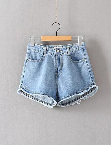 Damen Street Schick Mittlere Hüfthöhe Mikro-elastisch Eng Lose Jeans Kurze Hosen Hose,Baumwolle Acryl Ganzjährig Solide