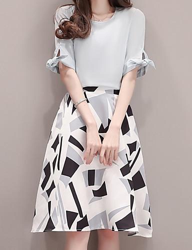 Damen Solide Geometrische Muster Einfach Lässig/Alltäglich Arbeit Bluse Rock Anzüge,Rundhalsausschnitt Sommer Kurzarm Unelastisch