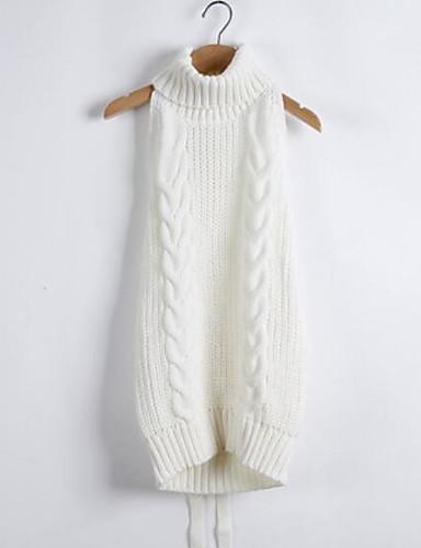 Damen Lang Pullover-Lässig/Alltäglich Solide Rollkragen Ärmellos Andere Herbst Mittel Mikro-elastisch