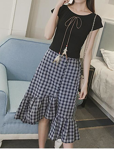 Damen Solide T-Shirt-Ärmel Rock Anzüge,Rundhalsausschnitt Sommer Kurzarm