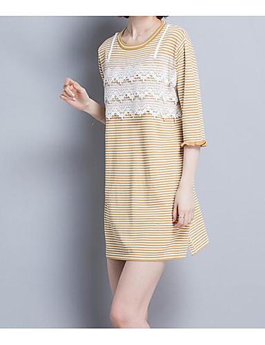Damen Standard Pullover-Lässig/Alltäglich Gestreift Rundhalsausschnitt Halbe Ärmel Andere Frühling Dünn Mikro-elastisch