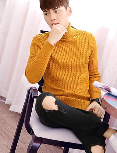 Herren Standard Pullover-Ausgehen Lässig/Alltäglich Sexy Einfach Solide Rollkragen Langarm Baumwolle Herbst Winter Dick Mikro-elastisch