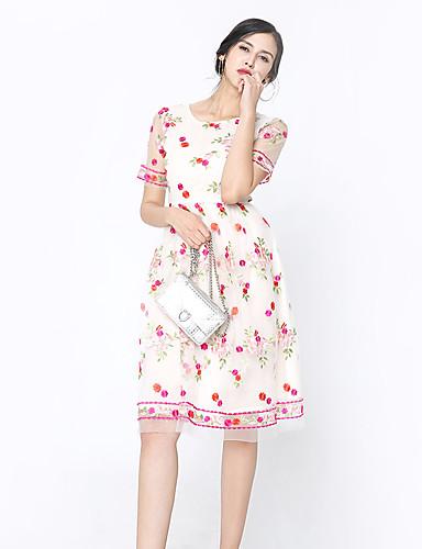 Damen Hülle Kleid-Festtage Ausgehen Lässig/Alltäglich Niedlich Street Schick Anspruchsvoll Geometrisch Rundhalsausschnitt Midi Kurzarm