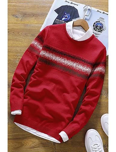 Herren Standard Pullover-Alltag Solide Rundhalsausschnitt Langarm Kunstseide Polyester Winter Herbst Mittel Mikro-elastisch