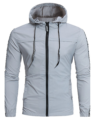Men's Sports Plus Size Jacket - Color Block Hooded
