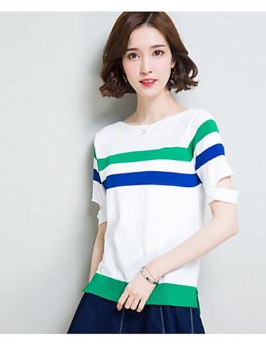 Damen Standard Pullover-Lässig/Alltäglich Gestreift Bateau Kurzarm Baumwolle Andere Sommer Dünn Mikro-elastisch