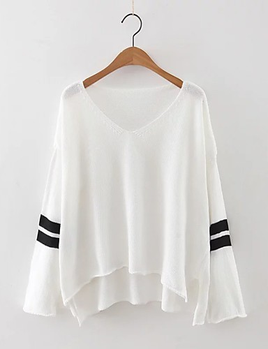 Damen Standard Pullover-Ausgehen Lässig/Alltäglich Einfach Niedlich Solide Gestreift V-Ausschnitt Langarm Wolle Baumwolle Polyester