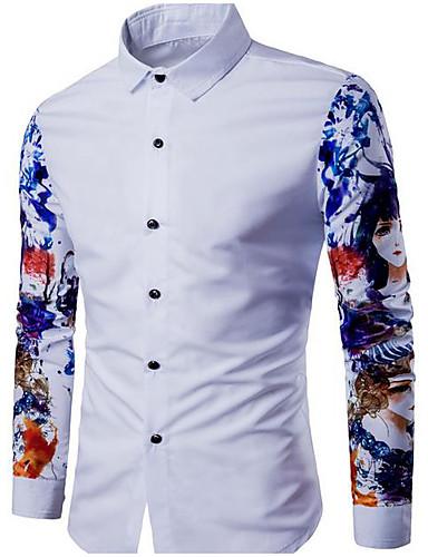 Herren Solide Geometrisch Druck Retro Ausgehen T-shirt,Rundhalsausschnitt Langarm Baumwolle