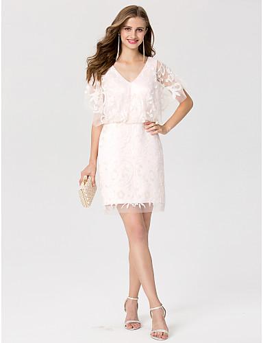 Tubinho Decote V Curto / Mini Renda Coquetel Vestido com Lantejoulas de TS Couture®