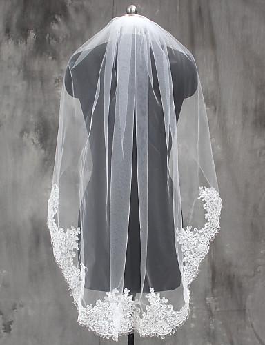 One-tier Lace Applique Edge Wedding Veil Elbow Veils / Fingertip Veils with Appliques Lace / Tulle / Classic